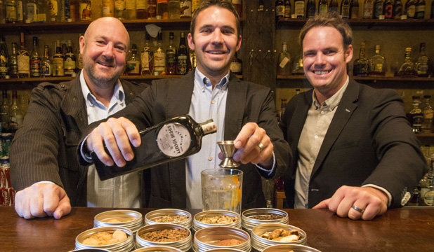 100314 Peter Meecham Fairfax Media Auckland based entrepreneurs From left; Richard Bourke, Daniel McLaughlin and Mark Neal have started the the Rogue Society Gin brand